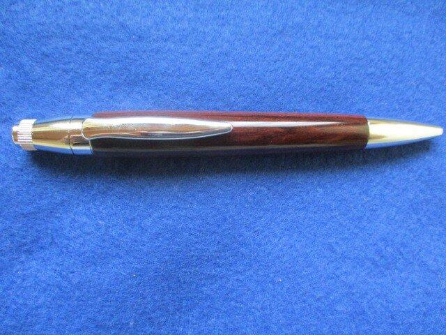 ブラジリアンローズウッド 軸太  ガラスコート仕上げ 回転式ロングパトリオットボールペン 超希少材の画像1枚目
