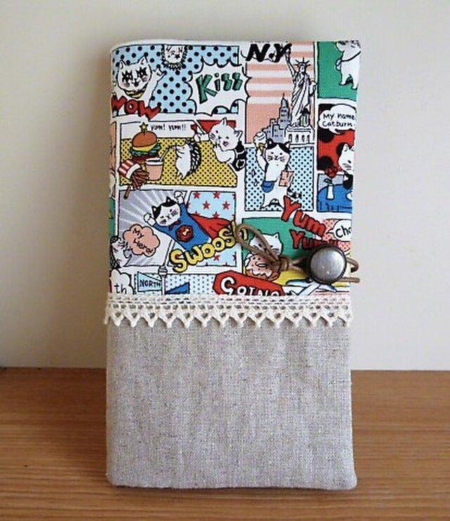 大容量カードケース(猫ちゃんコミック×レース×リネン)カードホルダー付きの画像1枚目