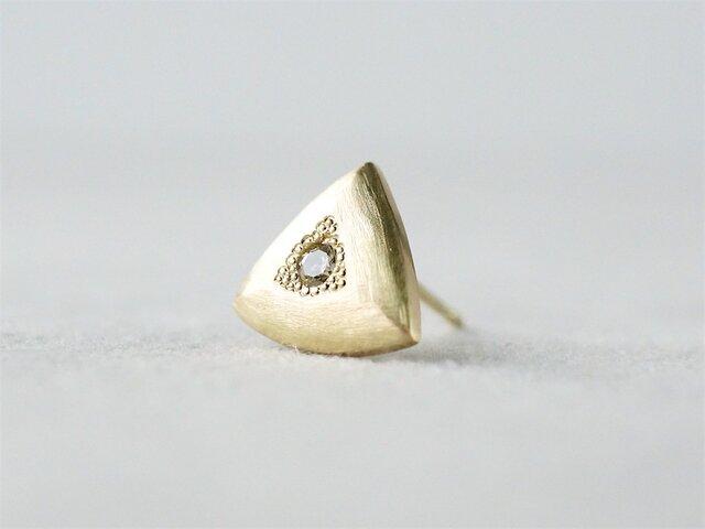 K18 Triangle earring / Diamond / Singleの画像1枚目