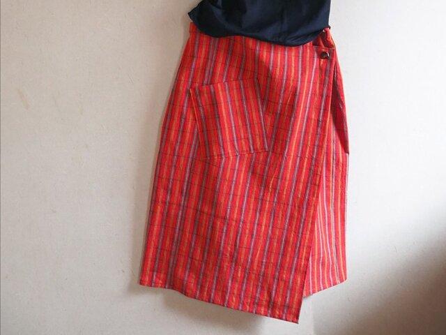 K's -ビビッドな格子のラップスカート【受注制作】-綿着物(古布)からの画像1枚目