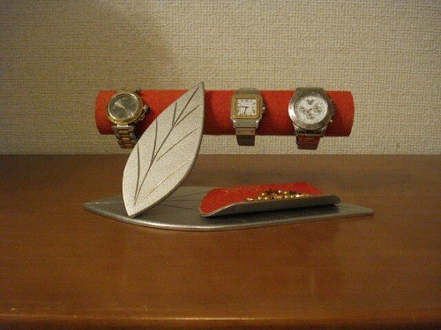 誕生日プレゼントに ダブルリーフトレイ付き時計インテリア収納スタンド レッド No.140109の画像1枚目