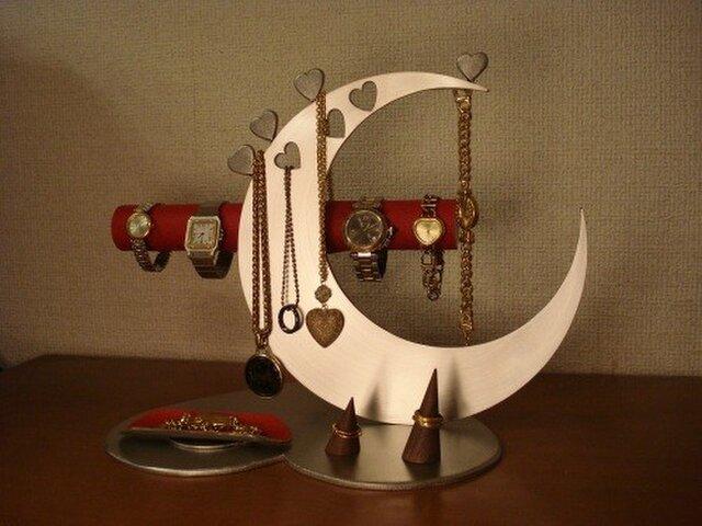プレゼントに レッド指輪、ネックレス、腕時計三日月スタンド パート2 No.130613の画像1枚目