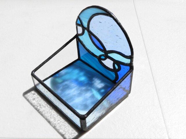 ステンドグラス/小物入れ・キャンドルホルダー 「木漏れ日(ブルー)」の画像1枚目