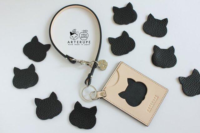 猫のパスケース・Gattina Pass ブラックの画像1枚目