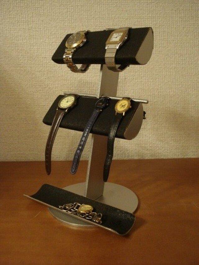 時計愛好家にプレゼント ブラック革バンド&メタルバンド4本掛けトレイ腕時計スタンド AKデザインの画像1枚目