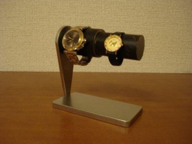 プレゼントに 太いパイプ、細いパイプ連結カップル腕時計スタンド ブラックコルク  AKデザインの画像1枚目