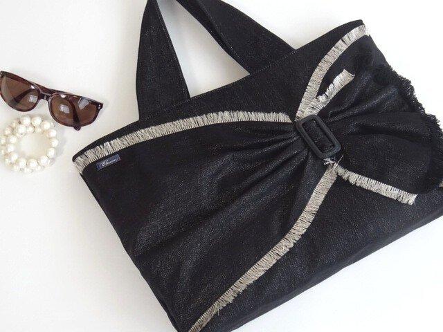 ラメMixデニム リボンのトート・ブラック A4が入る大きめバッグの画像1枚目
