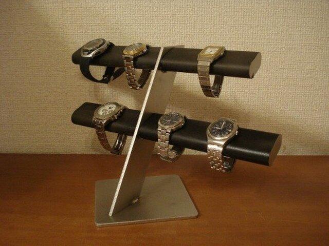 誕生日プレゼントに!ブラック10本掛けだ円腕時計スタンド AKデザインの画像1枚目
