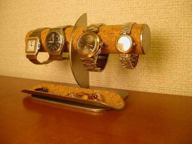 誕生日に 腕時計4本掛けロングトレイ付きハーフムーン腕時計スタンド AKデザインの画像1枚目