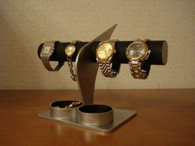 彼氏に ブラックコルク4本掛けデザイン腕時計スタンド 丸トレイ AKデザインの画像1枚目