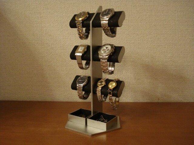 時計スタンド ブラック6本掛けダブル角トレイ腕時計スタンドタワーの画像1枚目