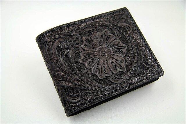 ビルフォード(カード財布)カービング・フルブラックの画像1枚目