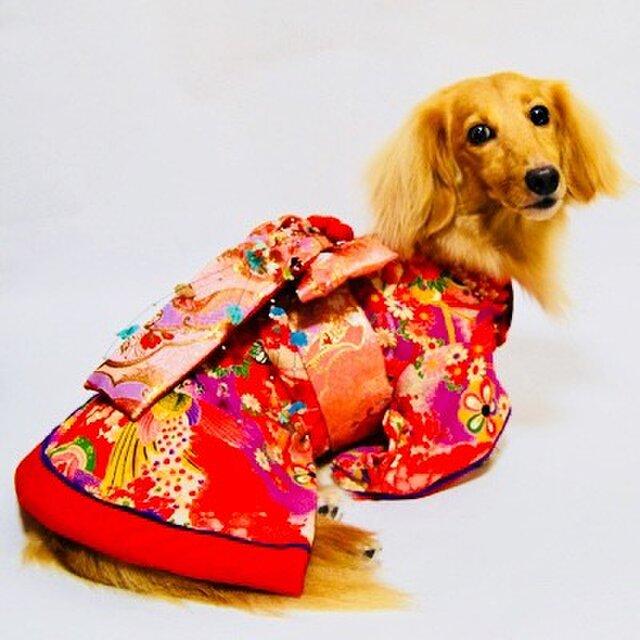 【犬着物】花魁 オーダーメイド 犬服 犬の着物の画像1枚目