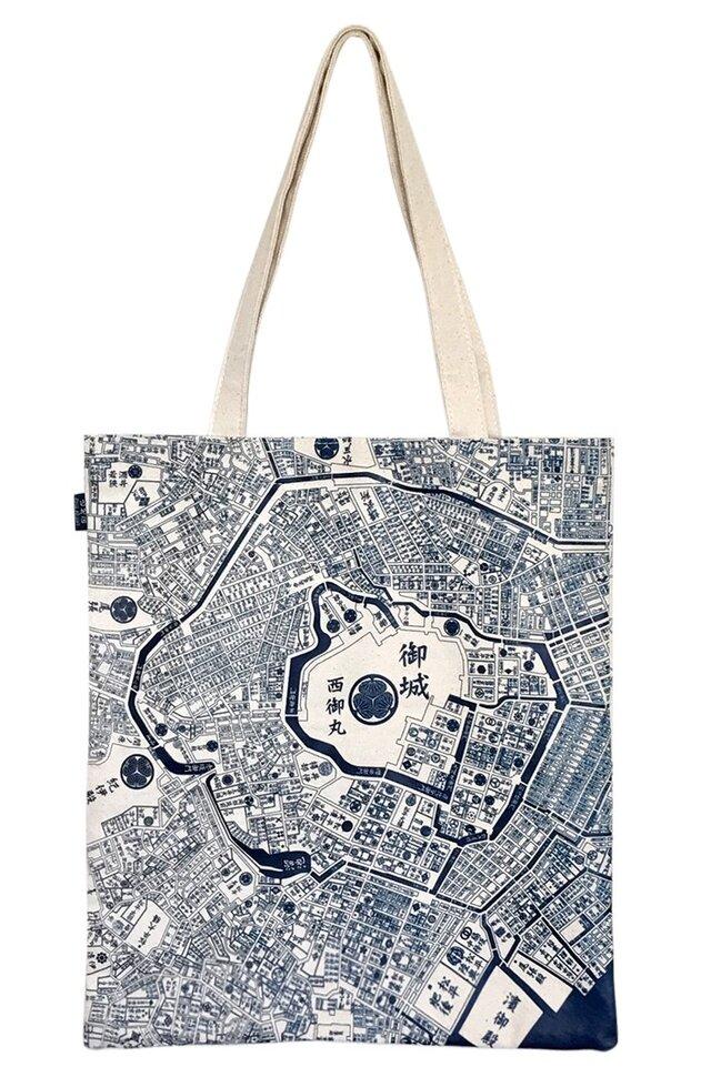 江戸東京トートマップ(片面が現在の地図柄、もう片面が幕末古地図柄)生成りの画像1枚目
