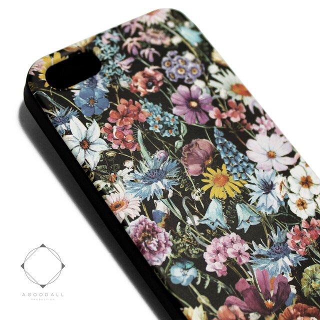 iphone5/iphone5s用/iphoneSE用 軽量レザーケースiphone5カバー(花柄)ワイルドフラワー ボタニカルの画像1枚目