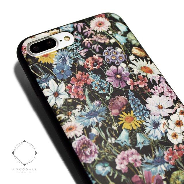 iphone7plusケース / iphone8plusカバー レザーケースカバー(花柄×ブラック)ワイルドフラワー ボタニカルの画像1枚目