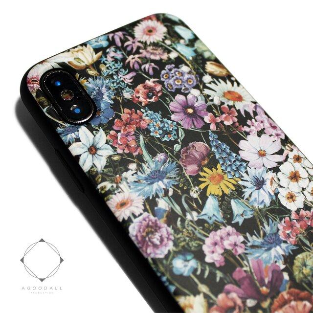 iphoneXケース/iphoneXsケース 軽量レザーケースiphoneXカバー(花柄×ブラック)ワイルドフラワー ボタニカルの画像1枚目