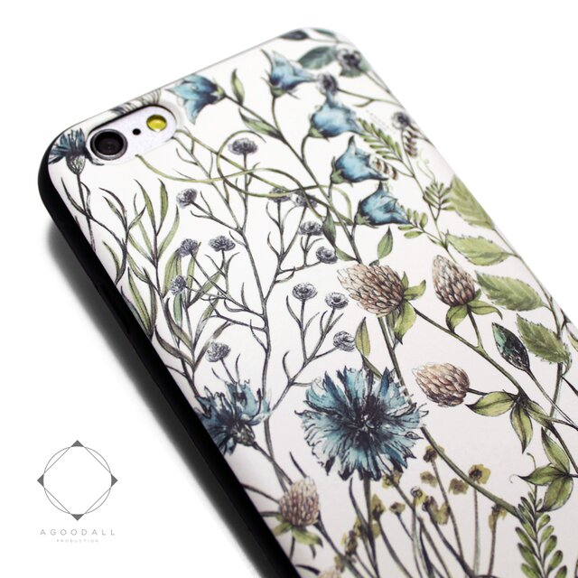 iphone6plus/6splusケース(5.5インチ用)軽量レザーケース(花柄×ブラック)ワイルドフラワー ボタニカルの画像1枚目