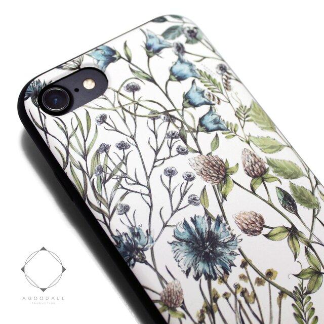 iphone7ケース/iphone8ケース 軽量レザーケースiphone7カバー(花柄×ブラック)ワイルドフラワー ボタニカルの画像1枚目