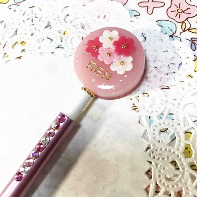 名前入り☆flowerブーケのキラキラボールペン(ピンク)の画像1枚目