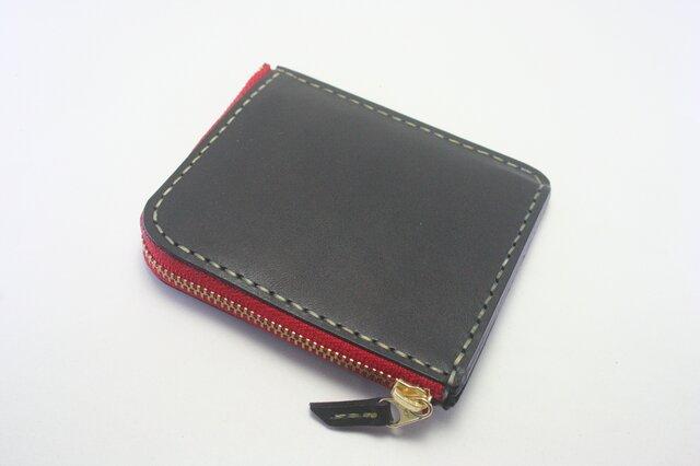 ♪レザー コンパクト 財布 小さい財布 L字ファスナーウォレット ブラック♪の画像1枚目