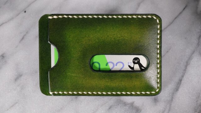 【送料無料】【名入れ可】手染めの本革パスケース【緑】の画像1枚目