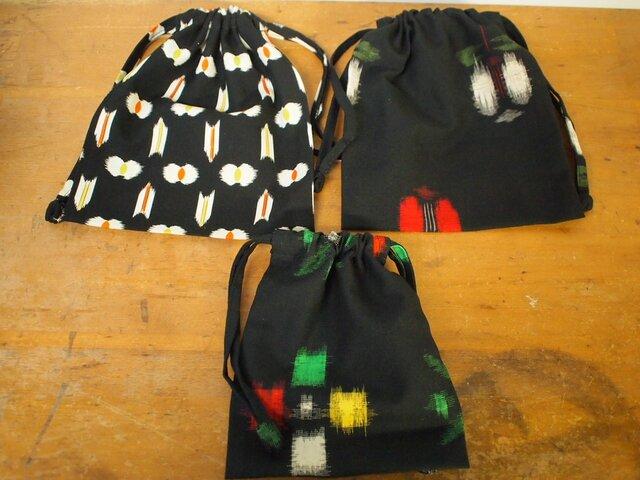 昭和レトロな着物地の巾着3セットの画像1枚目