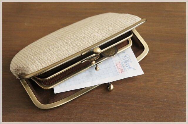 ■手紡ぎ、手織りシルク・リネンの親子がま口長財布 / d■の画像1枚目