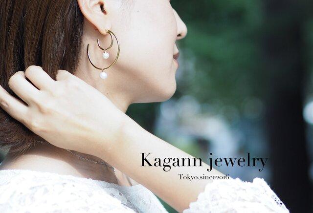【受注制作】DOUBLE MOON hoop earrings〈pearl〉の画像1枚目