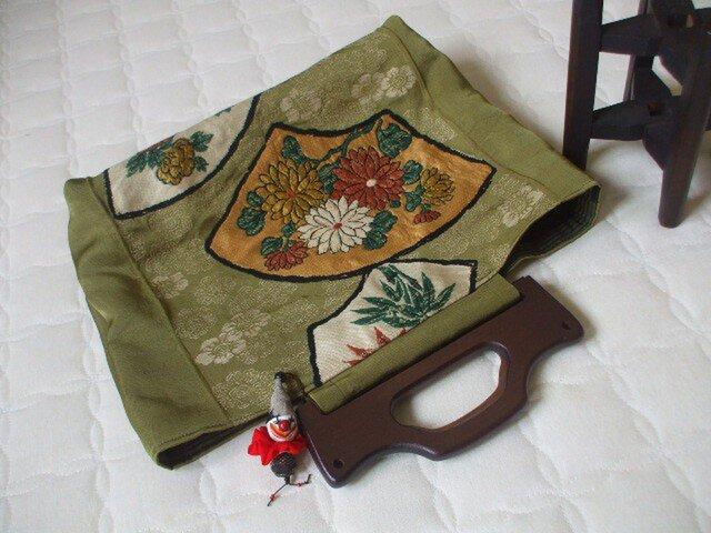 アンティーク丸帯からレトロ風トートバック 絹の画像1枚目