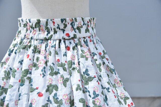 【受注製作】天然素材で製作したロングスカート 花果柄 綿麻の画像1枚目