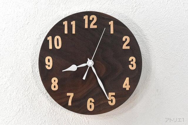【受注制作】【ブラックウオルナットのシンプルな掛け時計【クオーツ時計】の画像1枚目