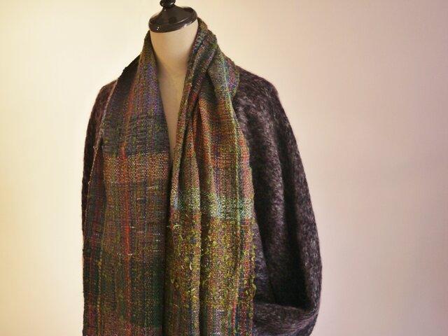 手織り ショールコートドルマンスリーブの画像1枚目