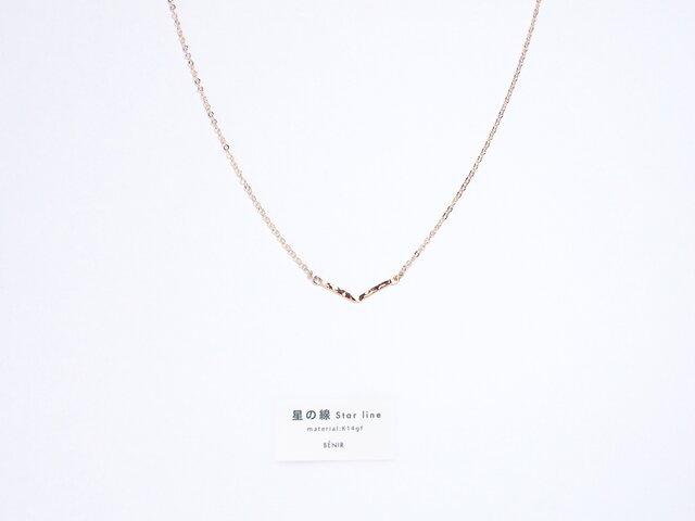 *再販*【14kgf】星の線 V字ネックレス / 槌目(40cm)ゴールド チェーン シンプル 華奢の画像1枚目