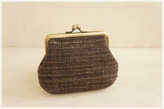 ■手紡ぎ、手織りシルク・リネンのがま口ポーチ / c■の画像1枚目