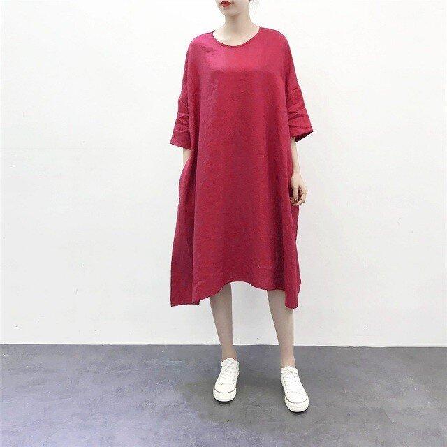 ★en-enリネン・たっぷりAラインワンピース・赤 (新着、新作)の画像1枚目