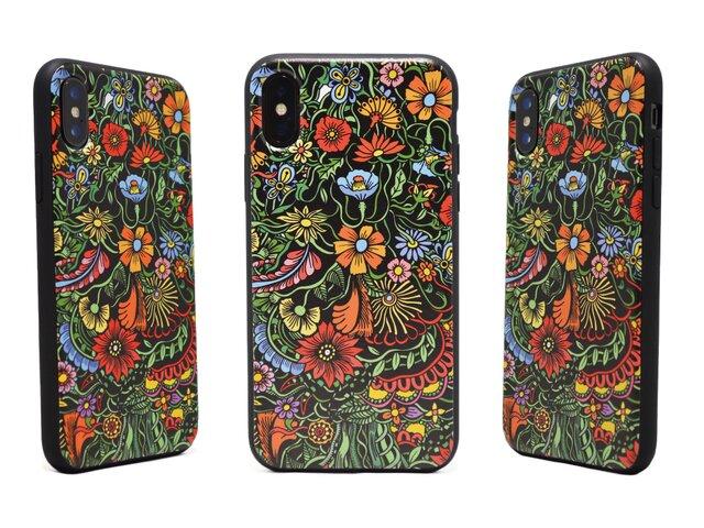 《Exotic Flower》エキゾチックフラワー  iPhoneX / iPhone10 レザーケースフルカバー(ブラック)の画像1枚目