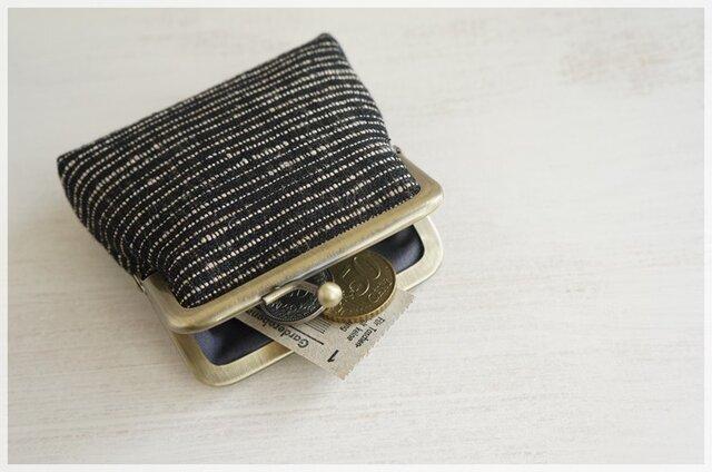 ■手紡ぎ、手織りシルク・リネンのがま口コインケース / f■の画像1枚目