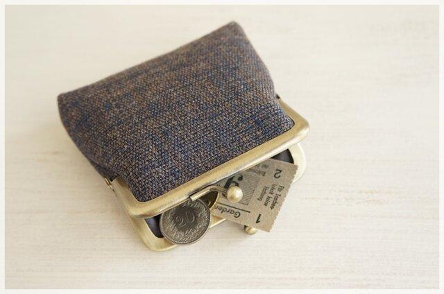 ■手紡ぎ、手織りシルク・リネンのがま口コインケース /i■の画像1枚目