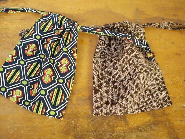 昭和レトロな着物地の巾着2セットの画像1枚目