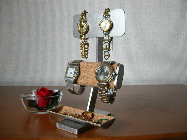 アクセサリースタンド だ円パイプ腕時計スタンド小物入れケース付きの画像1枚目