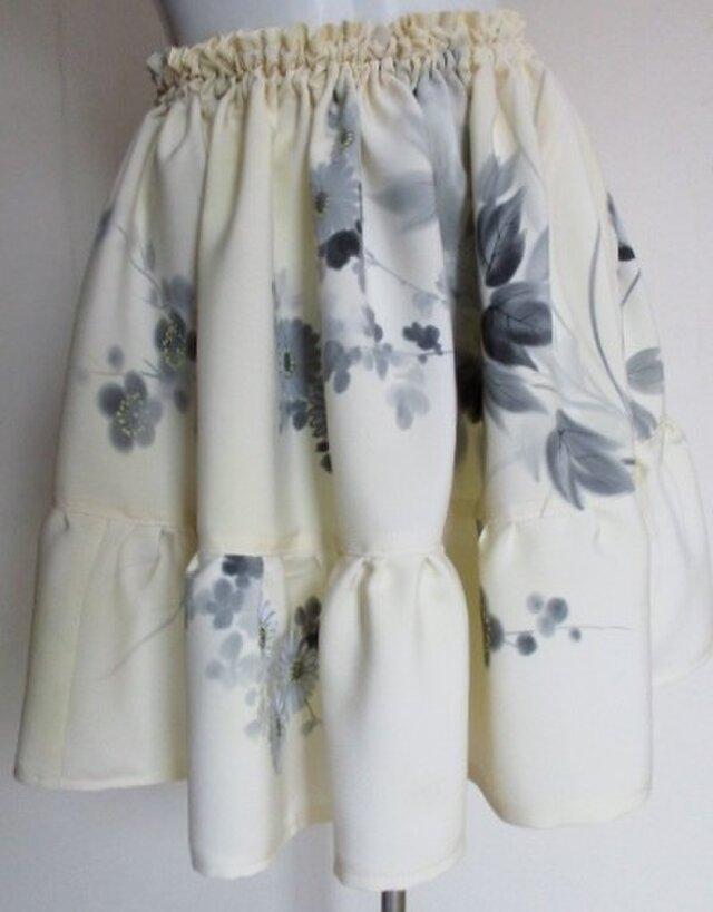 送料無料 花柄の着物で作ったミニスカート 3764の画像1枚目