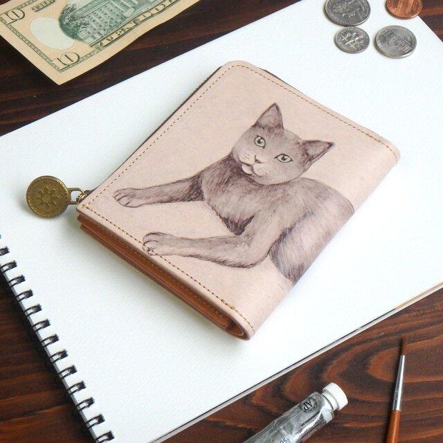 Lウォレット L字ファスナー 財布(ロシアンブルー)オールレザー 革  メンズ レディース ILL-1157の画像1枚目