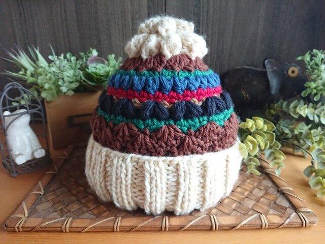 【受注制作】てっぺんにお花のついた帽子の画像1枚目