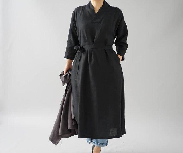 【wafu】中厚 リトアニア リネン ワンピース 着物襟 ドルマンスリーブ 和装 九分袖/ブラック a084a-bck2の画像1枚目