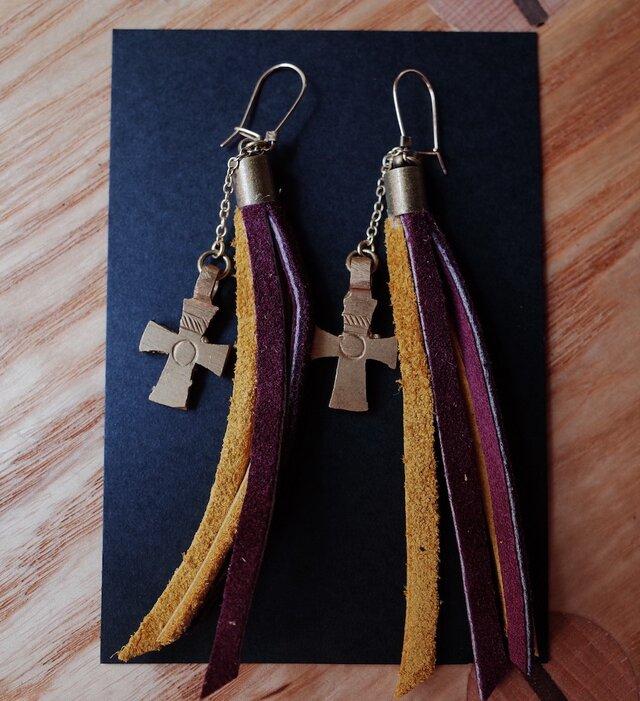 エチオピアピアス -shooting stars- yellow&purpleの画像1枚目