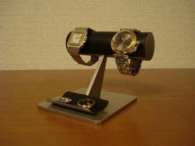 プレゼントに 機能的2本掛けブラック腕時計スタンドの画像1枚目