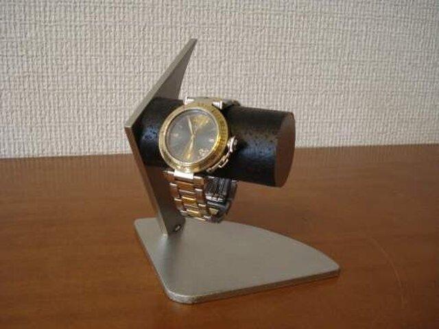 誕生日プレゼントに 黒2本掛けデザイン腕時計スタンドの画像1枚目
