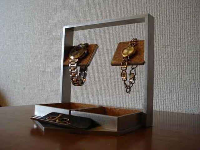 誕生日プレゼントに デカイトレイ腕時計スタンド ブラックトレイ付きの画像1枚目