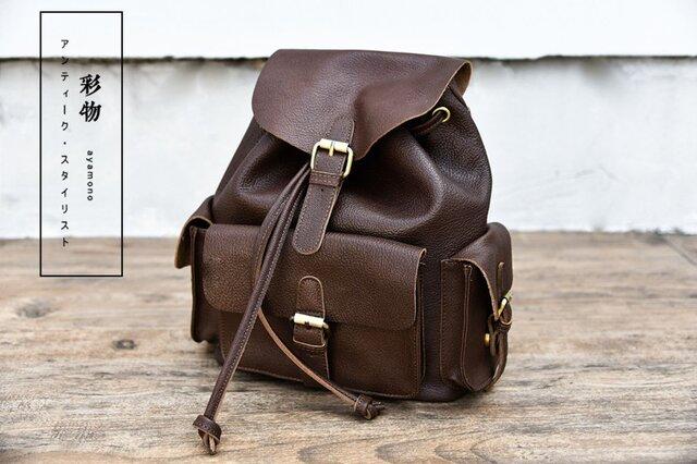 【受注製作】本革の収納たっぷり ポケット豊富なリュックサック バッグ かばん GR0039の画像1枚目
